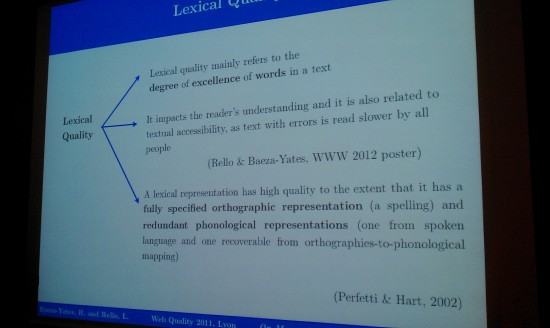 #WWW2012: WebQuality 2012, Web Quality Session