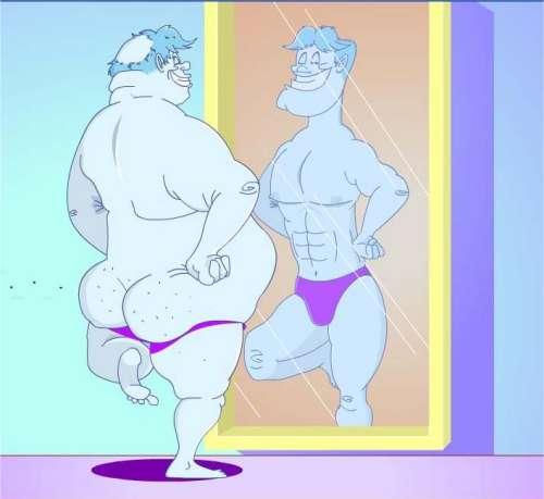 Cómo se ve el hombre y la mujer frente al espejo