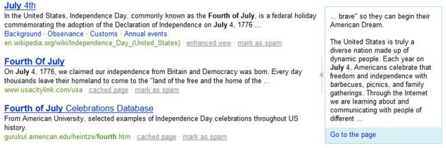 Extractos de la página en Bing