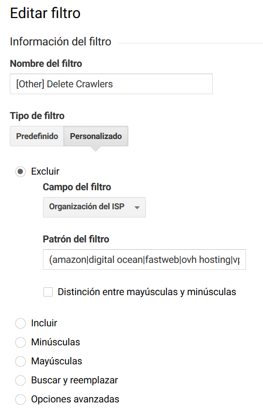 Filtrar crawlers en Google Analytics