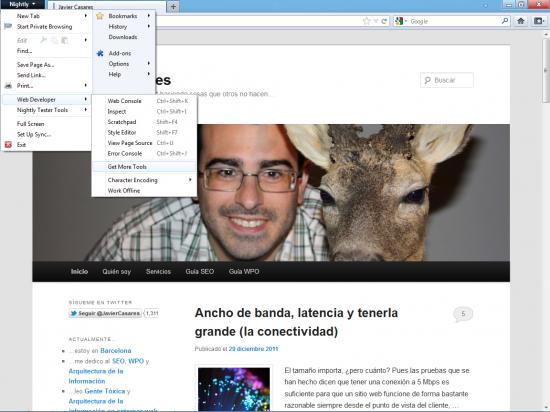 Herramientas para desarrolladores en Firefox 12