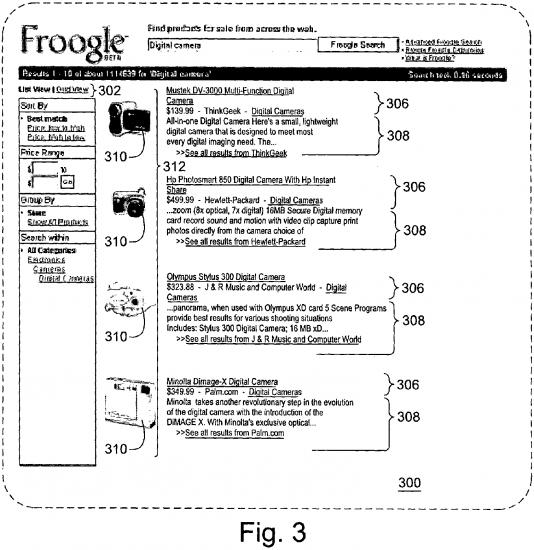 Google patenta la interfaz de resultados para productos