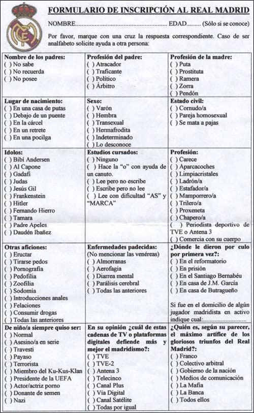 Formulario de inscripción al Real Madrid