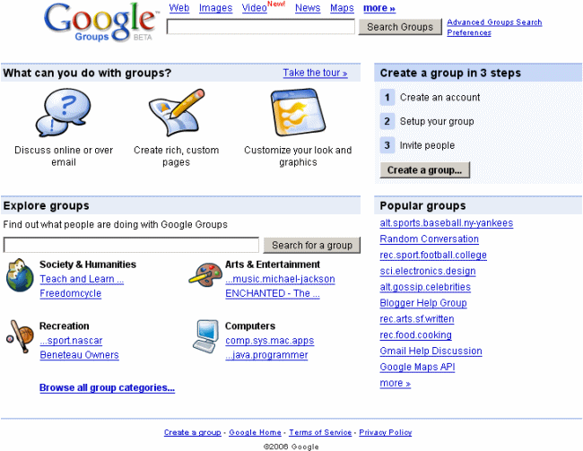 nuevo Google Groups beta