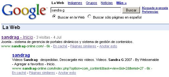 Sandra G en Google 1er puesto