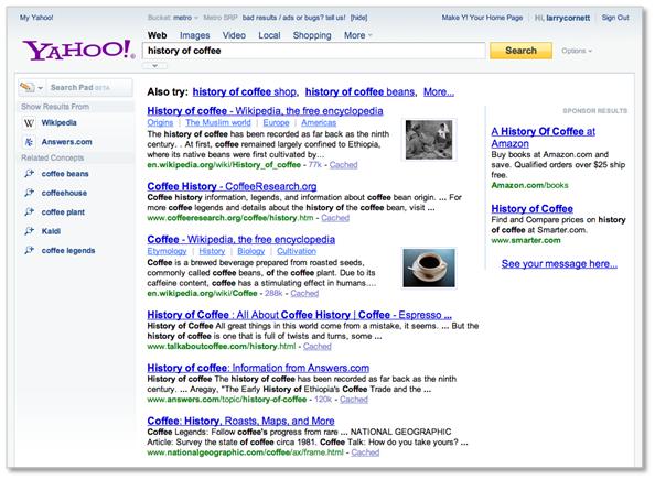 Yahoo! muestra su nueva interfaz de resultados de búsqueda